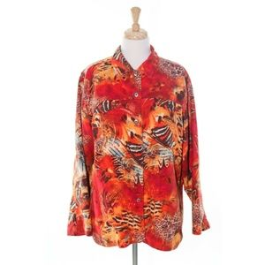 Chicos 3 Shirt Animal Floral Print Blouse Career